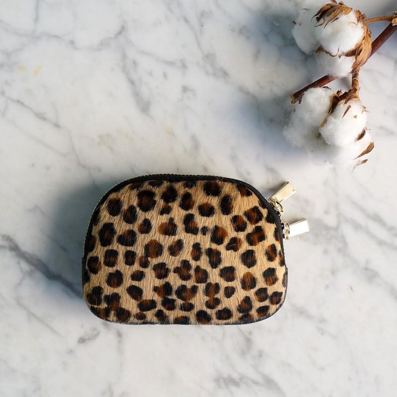 Monedero piel con print animal